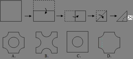 将一正方形纸片按下列顺序折叠