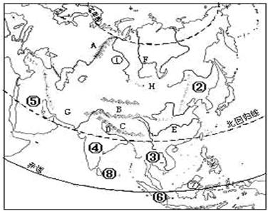 亚洲地形图手绘_读下面的\
