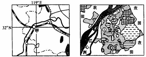 读甲城地理位置(左图)和城市用地结构图(右图)