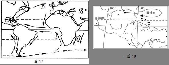 图17为世界部分海域洋流分布图,图18为某海域石油泄漏